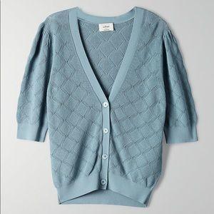 WILFRED | Dainty Cardigan Short Sleeve Blue Medium